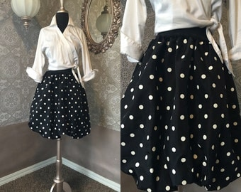 Vintage 1980's 90s Black and White Polka Dot Bubble Hem Skirt Small