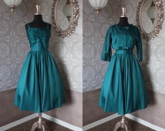 Vintage 1950's 60's Alice Junior Jewel Tone Green Cocktail Dress with Bolero Medium