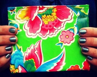 Mini size Green Retro Floral Oilcloth Pouch