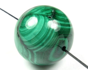 Quality Natural Malachite Large Round Bead - 20 mm - 1 Piece - B4285