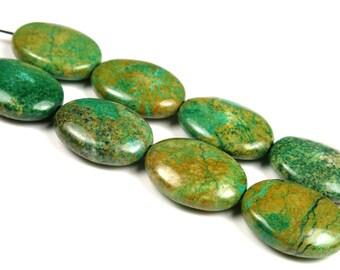 Beautiful Mystery Natural Jasper Oval Beads - 20mm x 15mm x 6mm - B4934
