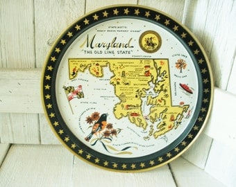 Vintage tray round metal Maryland state map souvenir 1960
