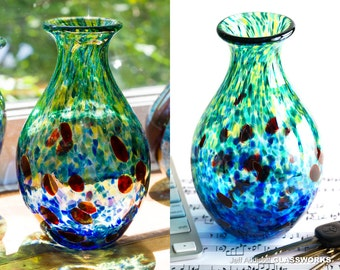Hand Blown Glass Tall Vase - Green and Blue with Ruby Dots