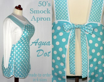 50s Smock Apron - Aqua Dot - vintage style apron - all day work apron, made-to-order in 4 sizes