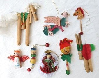 8 wooden ornaments, painted wood tree decorations for Christmas kitsch
