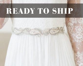 Wedding Belt, Crystal Bridal Dress Sash, Great Gatsby Wedding Gown Bling, Crystal Applique Beaded Bridal Belt, Art Deco Wedding Sash