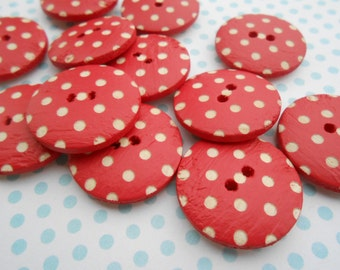"""Red Wooden Buttons with Polka Dots 6 pcs. 3/4""""width"""