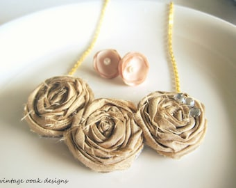 Iced Coffee Rosette Statement Necklace, Bib Necklace,Rosette Necklace, Rosette Statement Necklace,Bridesmaid Necklaces,Choose YOUR COLORS