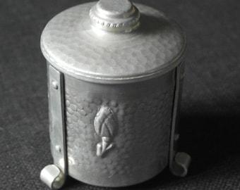 vintage small mid century aluminum sugar or preserve pot jar