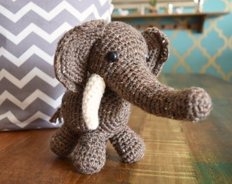 Brown/ Natural Elephant with Tusks Amigurumi Plushie