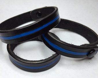 Thin Blue Line Leather Bracelet