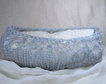 Newborn Baby Cocoon / Hand Knit / Photo Prop / Baby Wrap / Mohair