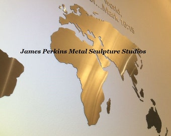 Stainless Steel World Map