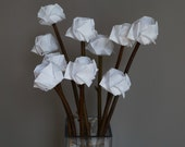 white flower bouquet-Mother's day gift-everlast flowers-origami rose-origami lilies bouquet-paper anniversary