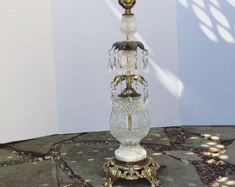 Vintage Glass, Antique Gold, Marble, Table Lamp with Hanging Crystals, Ornate Lamp, Hollywood Regency, Table Light, Mid Century, Electric