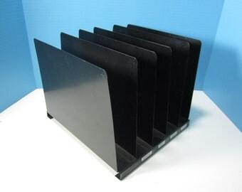 Metal File Holder, Steel Vertical Open File Holder, Desktop, Industrial Metal File Black 5 Slots, Office Storage, 1960s
