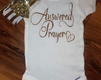 Answered Prayer Gold Sparkle baby girl onesie,going home outfit,newborn bodysuit,baby shower gift,sparkle shirt, adoption onesie,photo prop