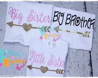Big Brother Little Sister- 3 Sibling Shirt SET - Announcement - HTV Shirt - Vinyl Shirt