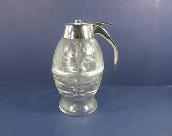 Vintage SYRUP PITCHER 2 Piece Glass Pancake Dispenser