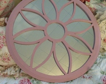 Shabby, nursery ornate pink mirror