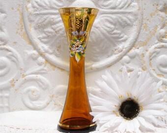 Amber Enamel Gold Gilt Vase Fluted 7 Inch