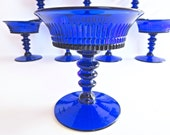 Fenton Lincoln Inn Cobalt Blue Footed Coupes - Set of 8 - Simply Gorgeous!