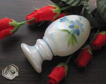 Vintage Fenton Art Glass Egg Hand Painted Blue Flowers on White Iridescent Pedastal - FREE SHIPPING