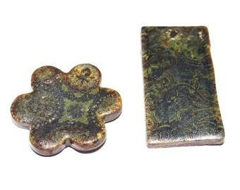 Unusual Ceramic Pendants Rustic Stoneware Pottery