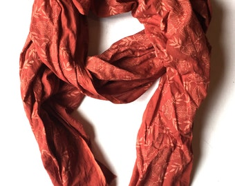 Hand Block Printed Cotton Scarf with Natural Madder Dye - Red