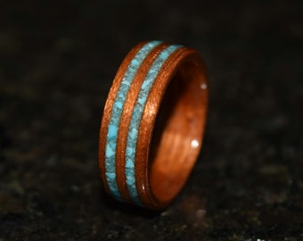 READY TO SHIP size 8.5 Hand Made Spanish Cedar with Double inlayed Sleeping Beauty Turquiose Wooden Ring