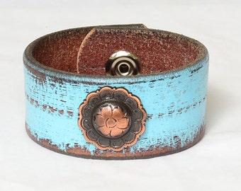 Turquoise Leather Cuff Bracelet, Womens Leather Cuff Bracelet. Vintage Leather Cuff, Copper Concho, Western Cuff Bracelet