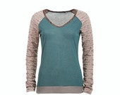 ON SALE Women's raglan tshirt in gray and teal with extra long sleeves, long sleeved tshirt