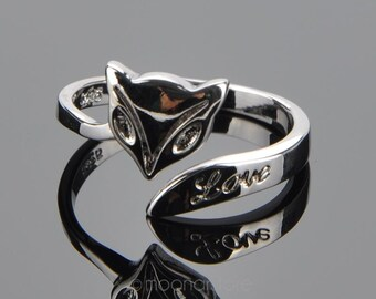 Ring,  fox ring, adjustable ring, knuckle ring, word love engraved, silver plated fox ring, Fox love fashion ring, adjustable fox ring