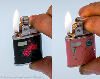 Working Pair of 1960s Japanese Mini Automatic Lighters with Floral Enamel Finish