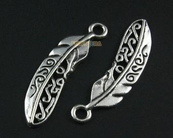 10Pcs Antique Silver Feather Charm Feather Pendant 38x10mm (PND1332)