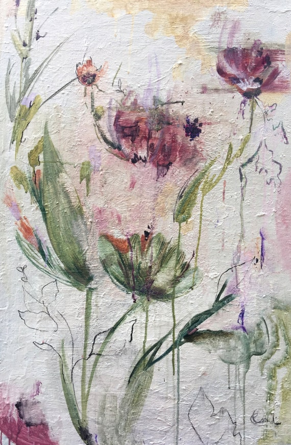 Abstract  burgundy flowers in a field painting