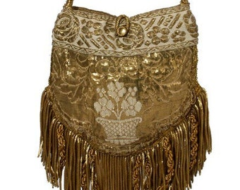 Rare 1800'S French Gold Needlework With Lush Antique Fringe