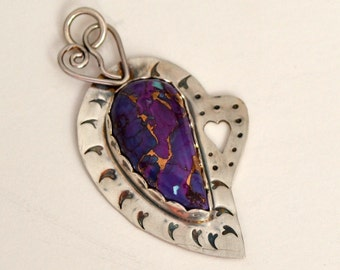 "Mojave purple turquoise and sterling silver heart pendant.  ""18 hearts"""