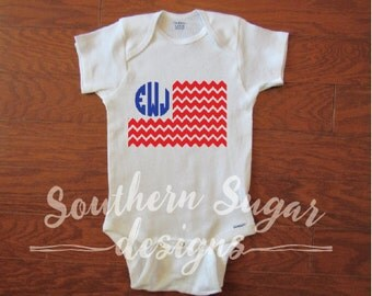 Fourth of July Patriotic Personalized Bodysuit