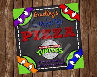 Teenage Mutant Ninja Turtle Pizza Box Labels