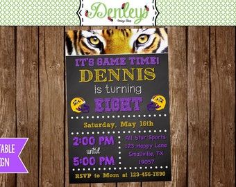 Tiger Football Printable Birthday or Graduation Invitation (LS01)