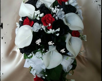 Red black bouquet etsy calla lilies and roses red black white silver cascade bridal bouquet silk wedding bride flowers mightylinksfo Images