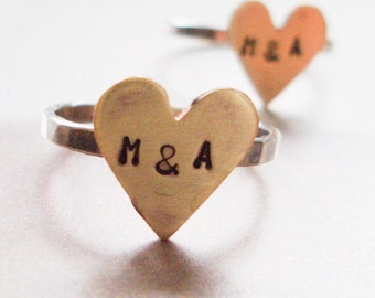 Big Brass Heart Ring // Personalized in Sterling Silver