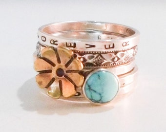 Golden Floral and Turquoise Ring // Personalized Stacking Ring // Sterling Silver, Brass, and Turquoise