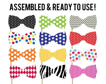 Bow Tie Photo Booth Photo Props . Party Decorations . Photo Booths . Set of 12