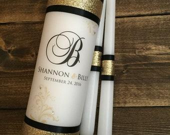 Wedding Unity Candle - Wedding Candles -Gold Weddings - Monogram Unity Candle