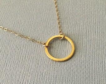 Tiny Gold Circle Necklace -Gold Karma Ring Necklace -Gold Eternity Ring Necklace -Gold Circle Necklace