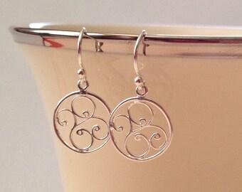 Swirl Drop Earrings in Sterling Silver -Filigree Swirl Drop Earrings in Sterling
