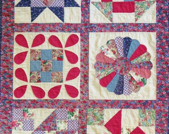 Vintage Sampler Quilt Throw, or Wall Quilt, Patchwork Applique, Rose Pink Blue Calico Floral Prints, Handmade Hand Quilted, 37 x 53 inches