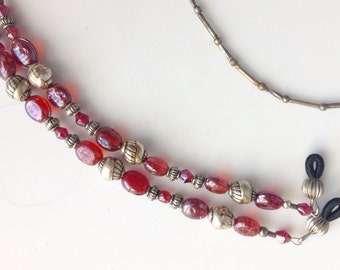 Red Glass Beads and Silver Beads, Eyeglass Holder/Leash/Chain.